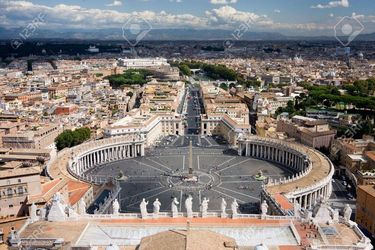 View from the St. Peter's Basilica. The Vatican is sunlit, whereas the Rome part is covered by clouds. Stock Photo - 7732411