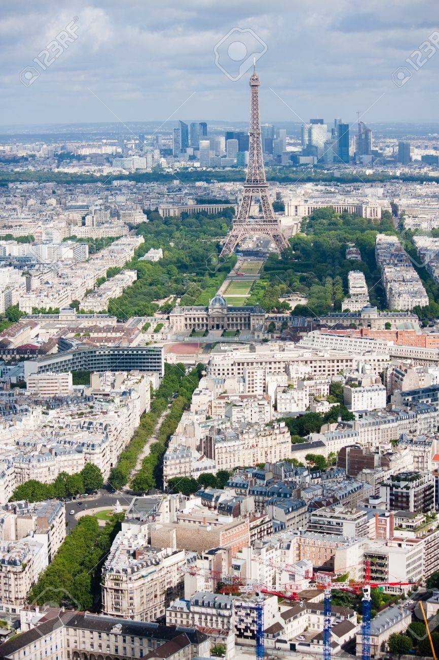 High-above morning view of the Eiffel tower and La Defense district behind. Stock Photo - 7799535