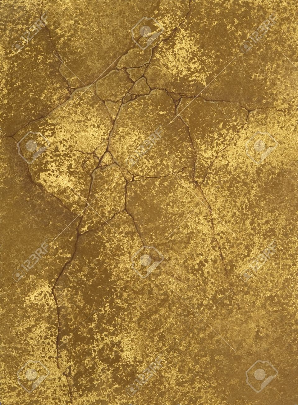 Texture Of A Cement Wall Covered Metallic Paint With Gold Spots