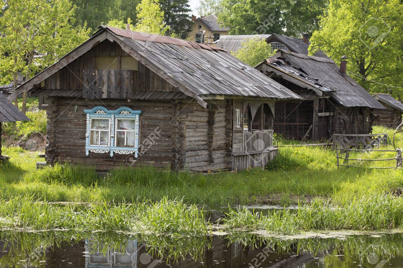 The Beautiful Small Wooden Houses On The River Bank Myshkin Stock Photo Picture And Royalty Free Image Image 80373343