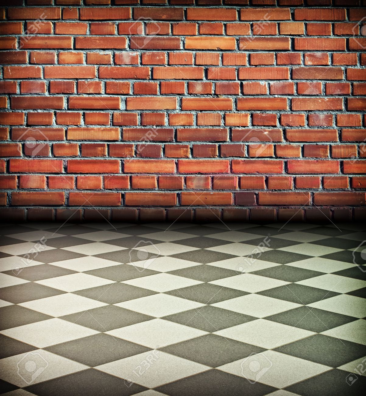 Creative Vintage Interior With Brick Wall And Chess Tile Floor Stock Photo    9958240
