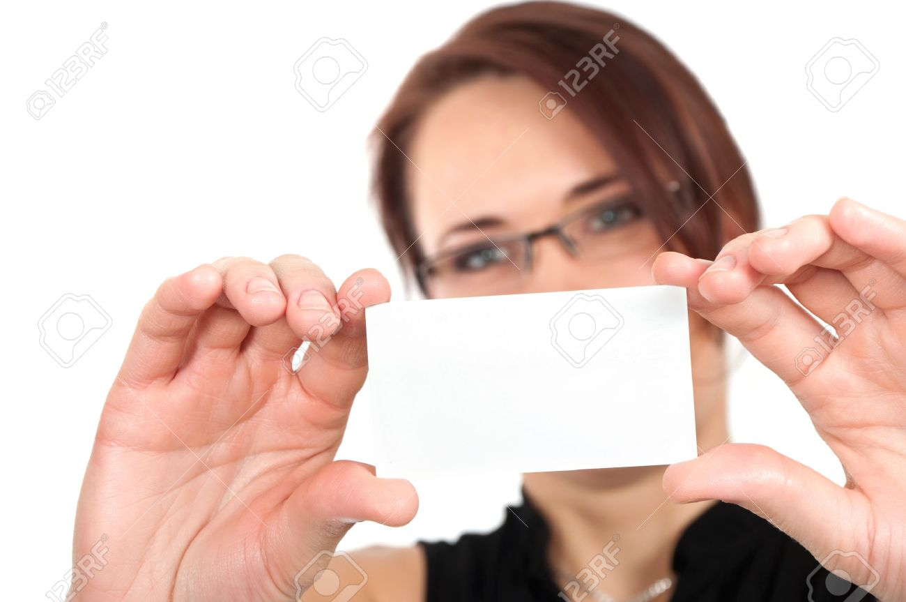 Woman hand holding white empty blank business card, shallow DOF, face in blur Stock Photo - 10897162