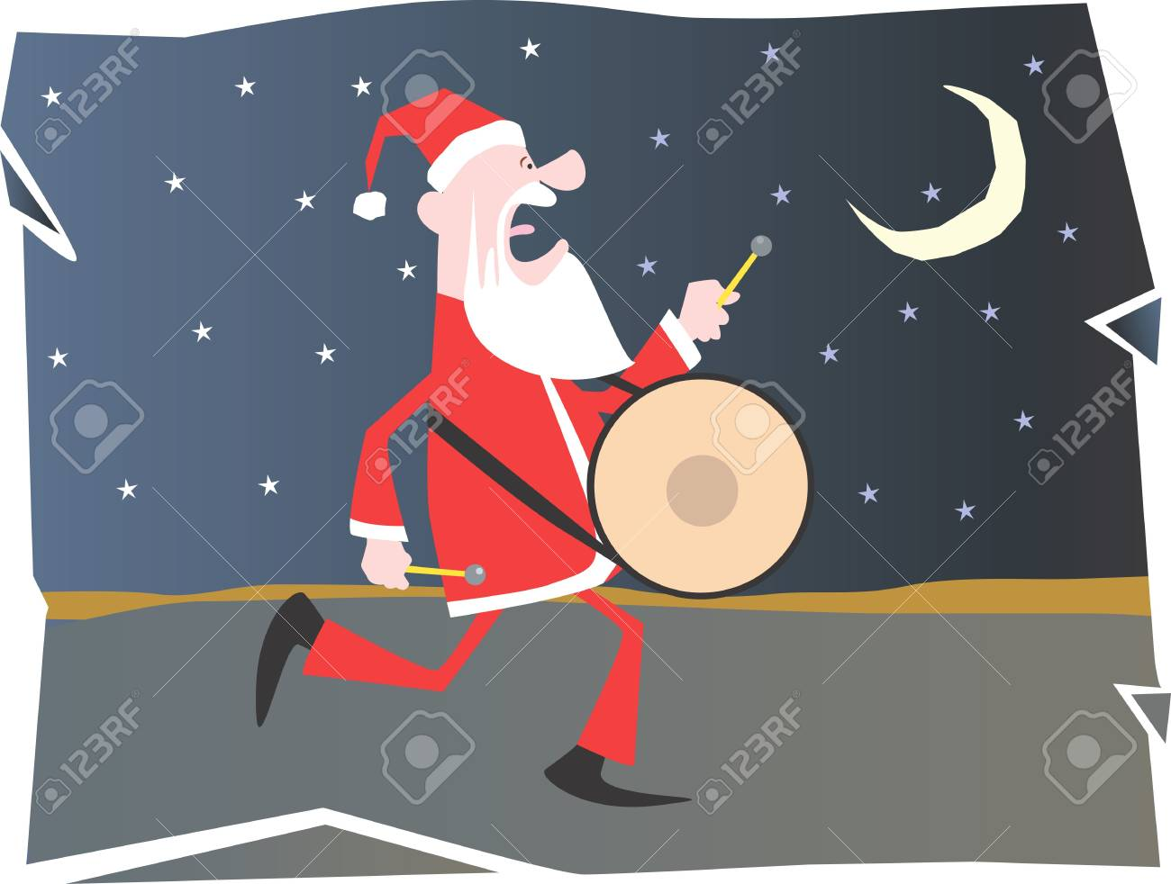 Santa clause on carol and playing drum Stock Photo - 2886327