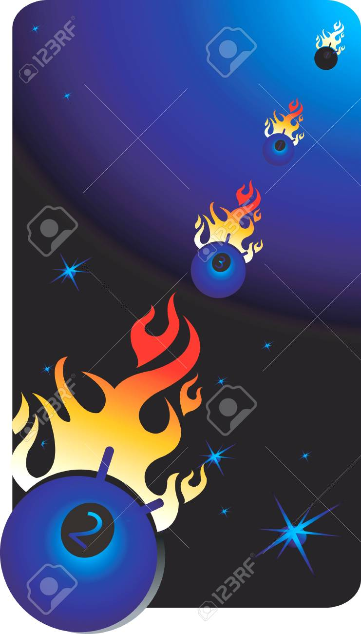 Illustration of a objects in space with fire Stock Illustration - 2892368