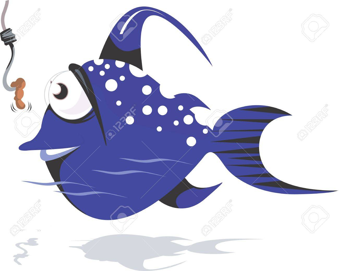 Illustration of a blue colour fish aiming for the worm on hook Stock Illustration - 2892621