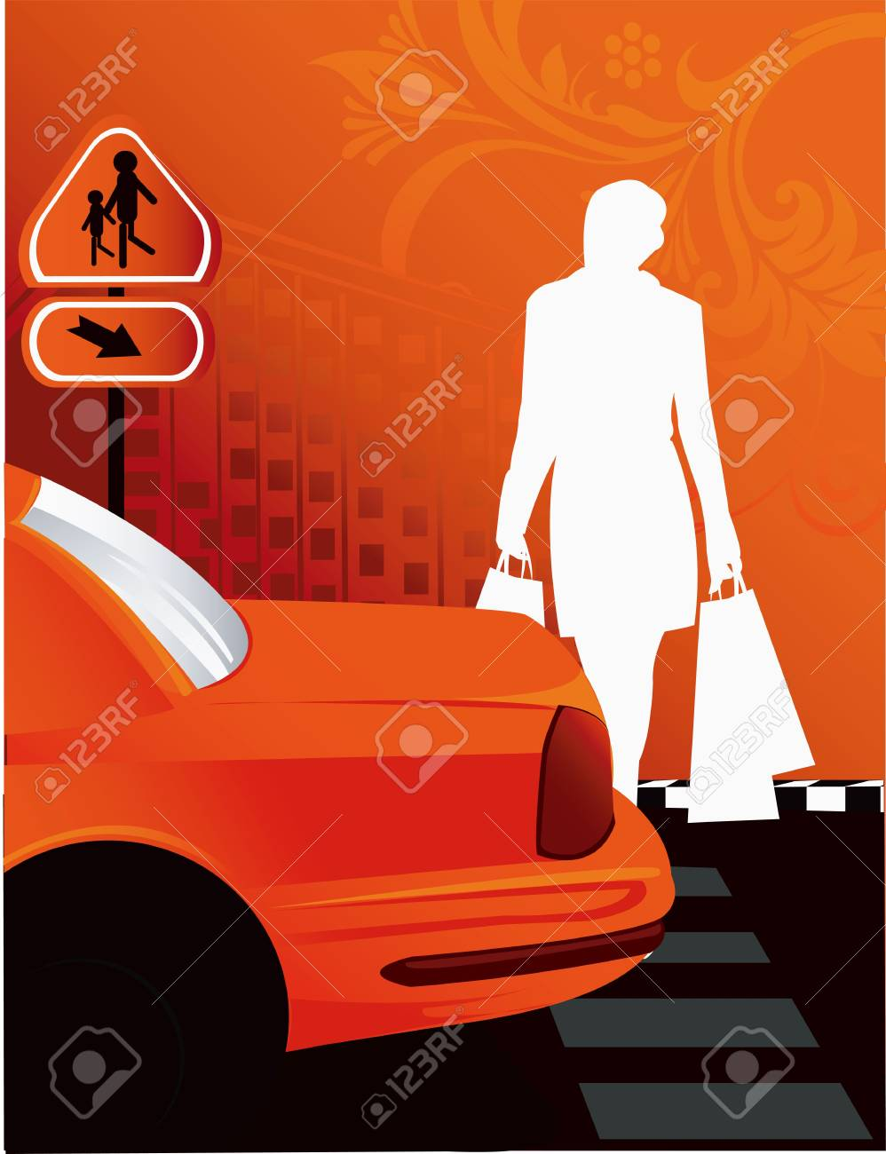 Illustration of female coming to the car after shopping Stock Illustration - 2909009