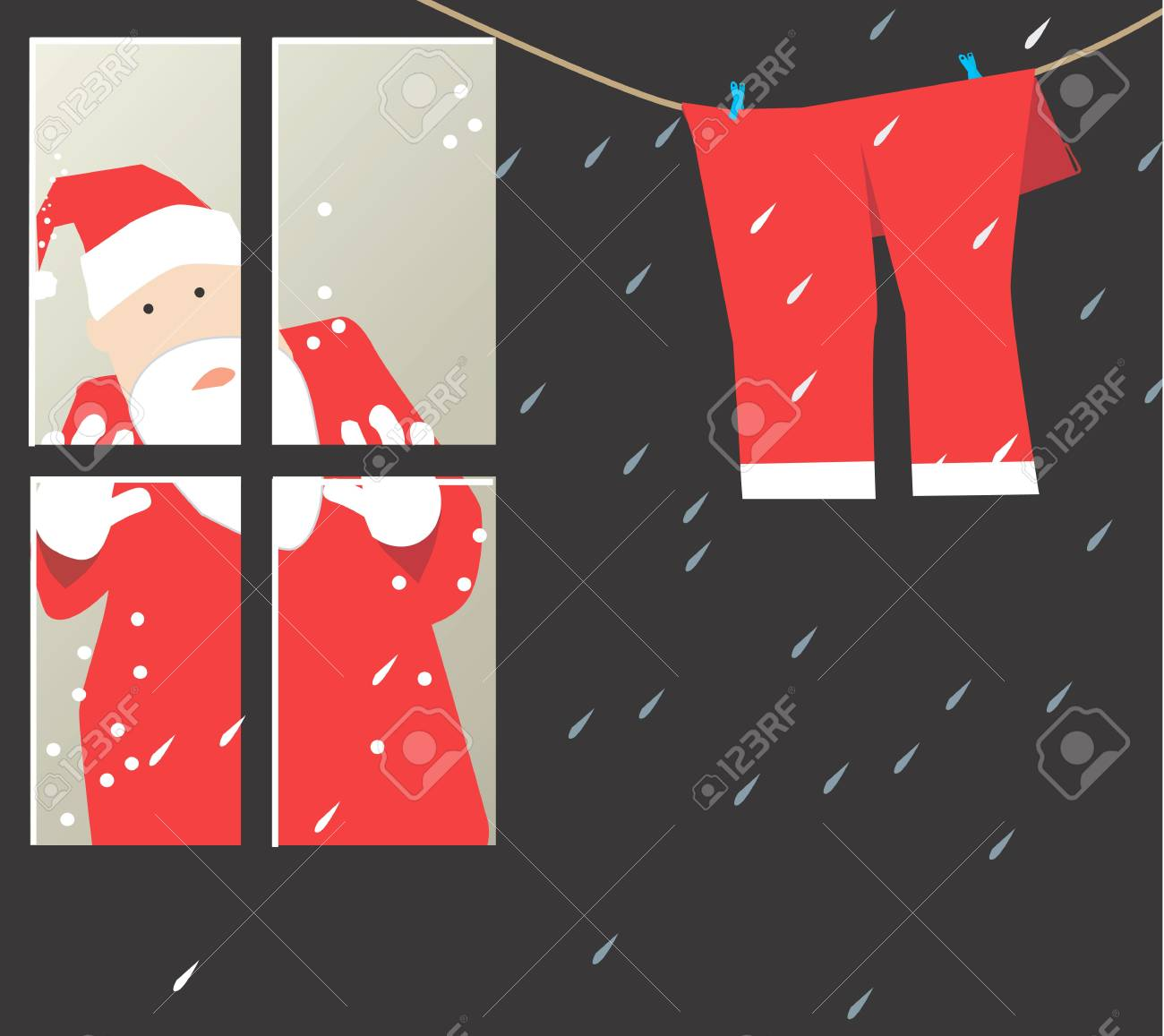 Santa clause looking at his trousers through window Stock Photo - 2912761