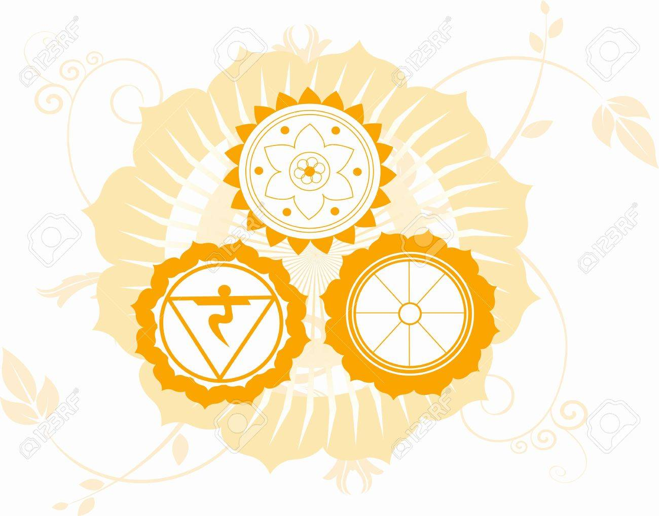 Illustration Of Hindu Religious Symbols Stock Photo Picture And