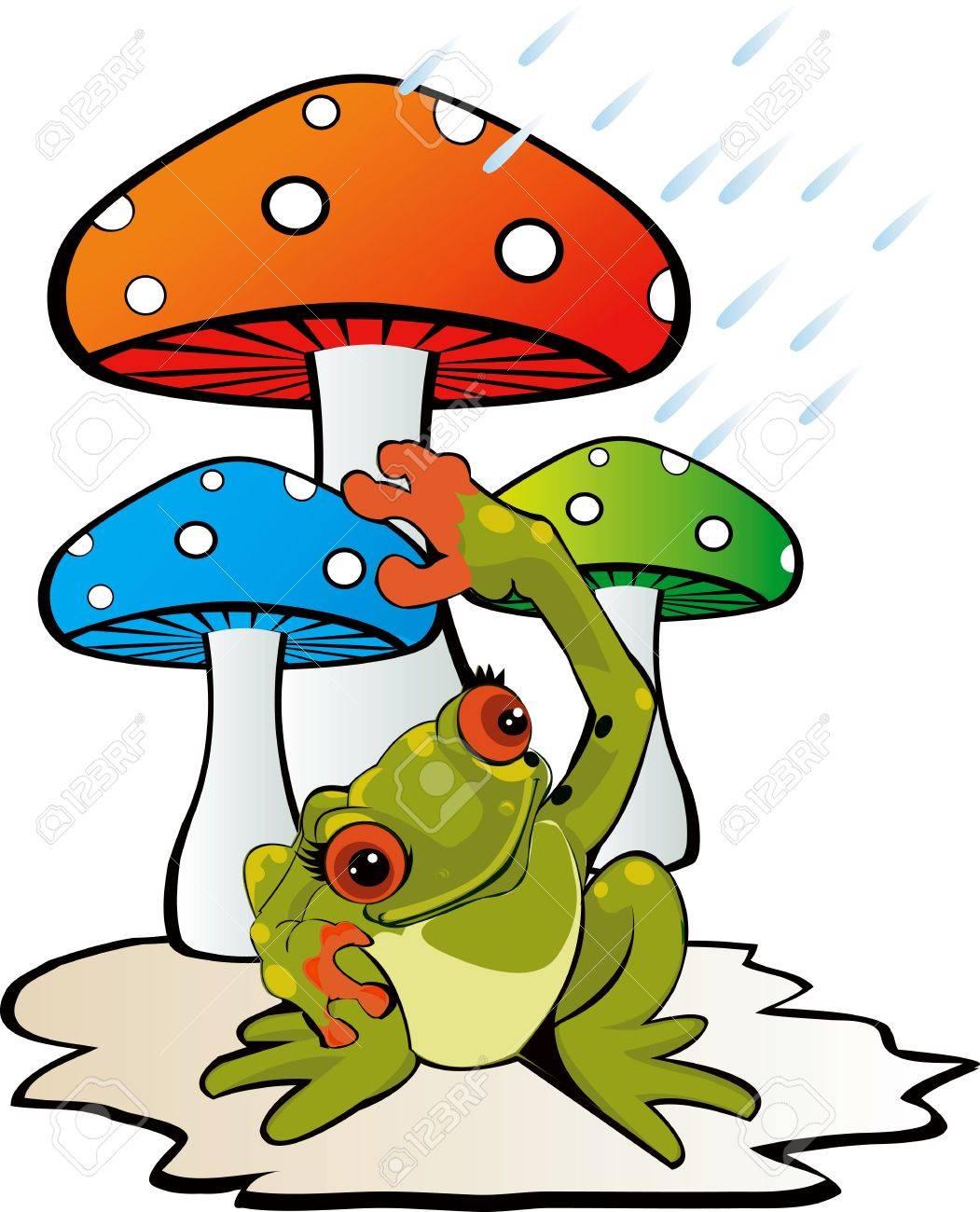 Illustration of mushroom with a toad Stock Illustration - 3008649