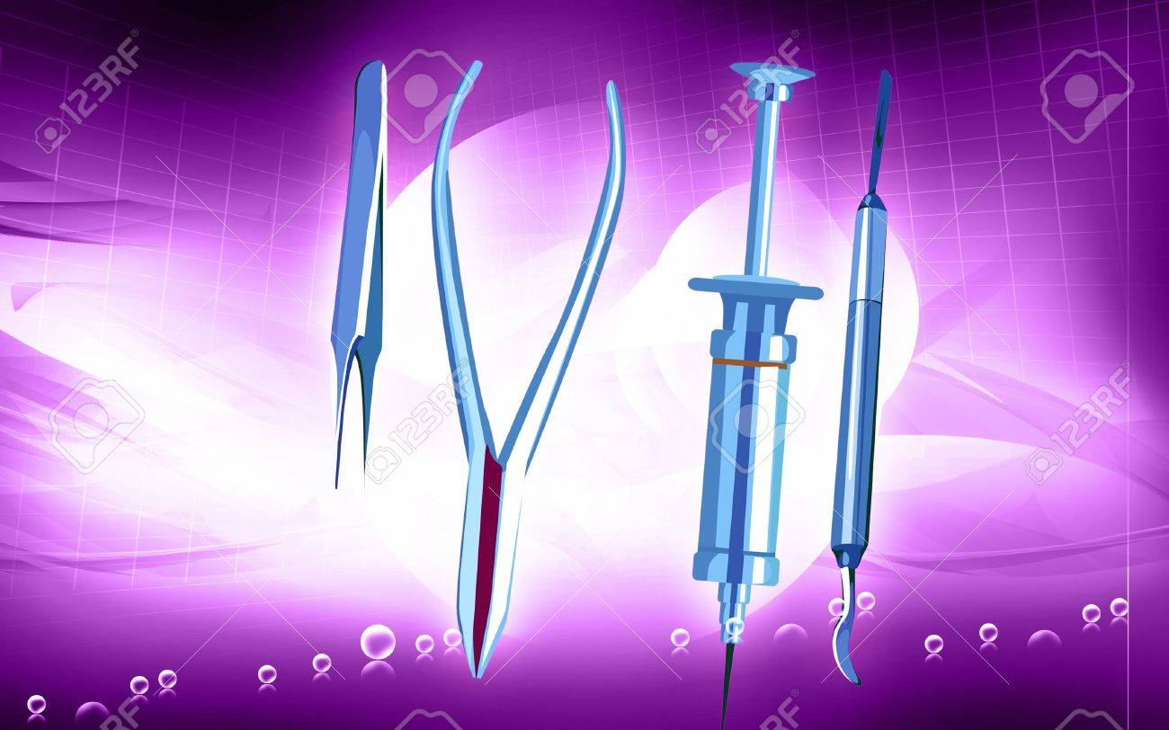 Illustration of a surgical instruments in blue background Stock Photo - 5774776