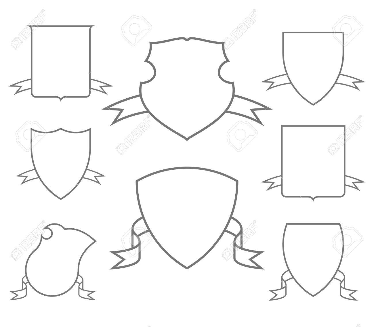 Escutcheons For Coat Of Arms Set, Shield Templates Royalty Free ...