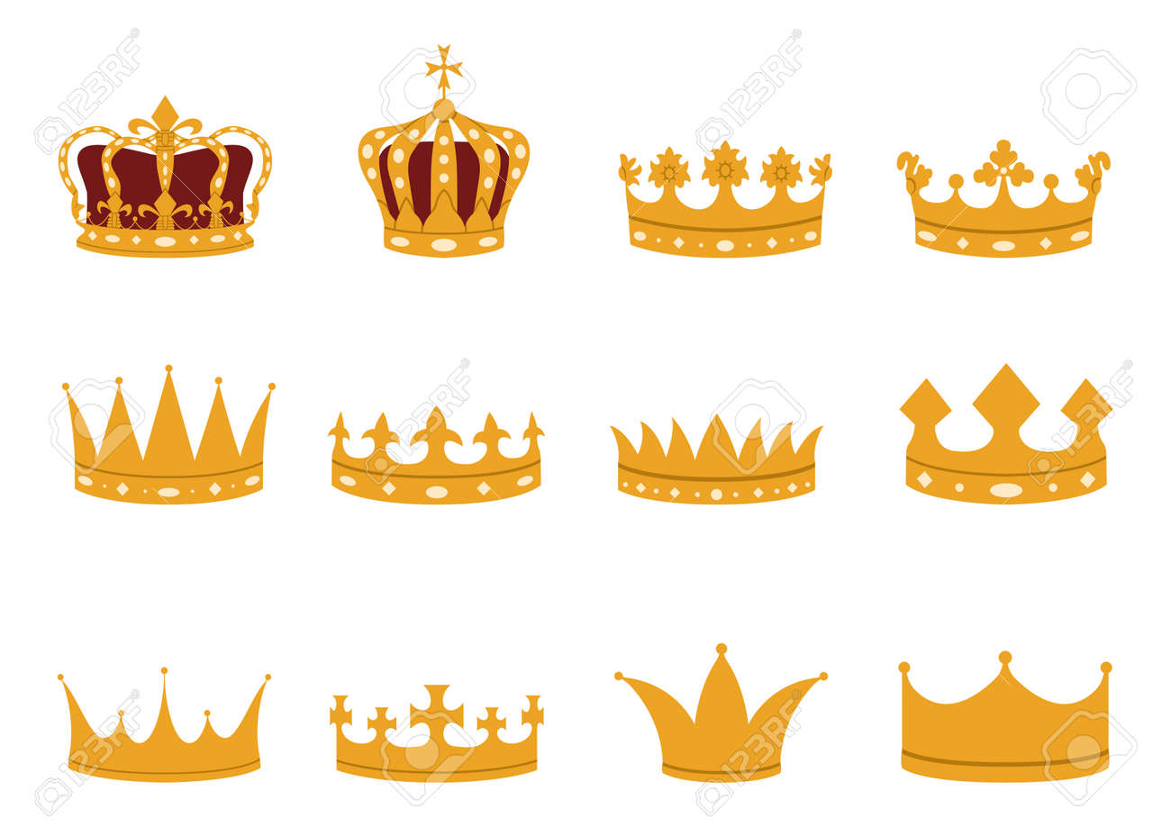 Set of gold crowns in a flat style. Imperial, royal, princely, monarchical, ducal and county crowns. - 170093434
