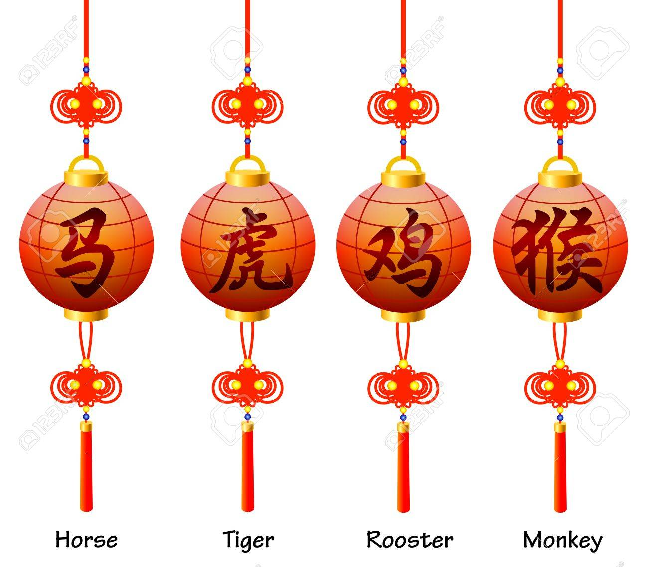 Chinese symbols on the lantern signs of the zodiac rooster chinese symbols on the lantern signs of the zodiac rooster horse monkey tiger biocorpaavc Gallery