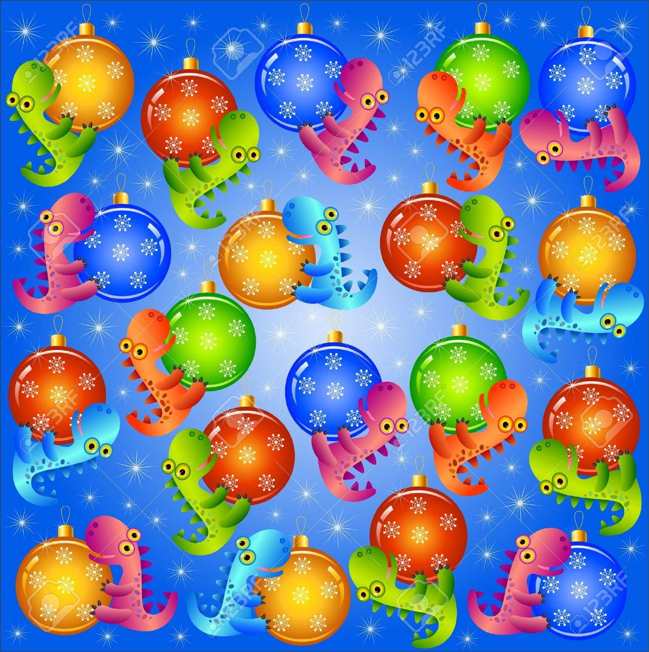 christmas background  with balls and dragons Stock Vector - 18826797