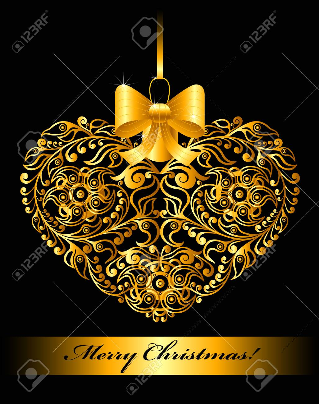 Christmas card with patterned heart Stock Vector - 18826702