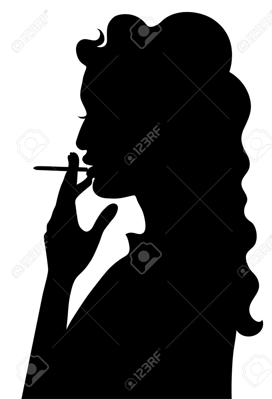 Silhouette of smoking girl Stock Vector - 18826308