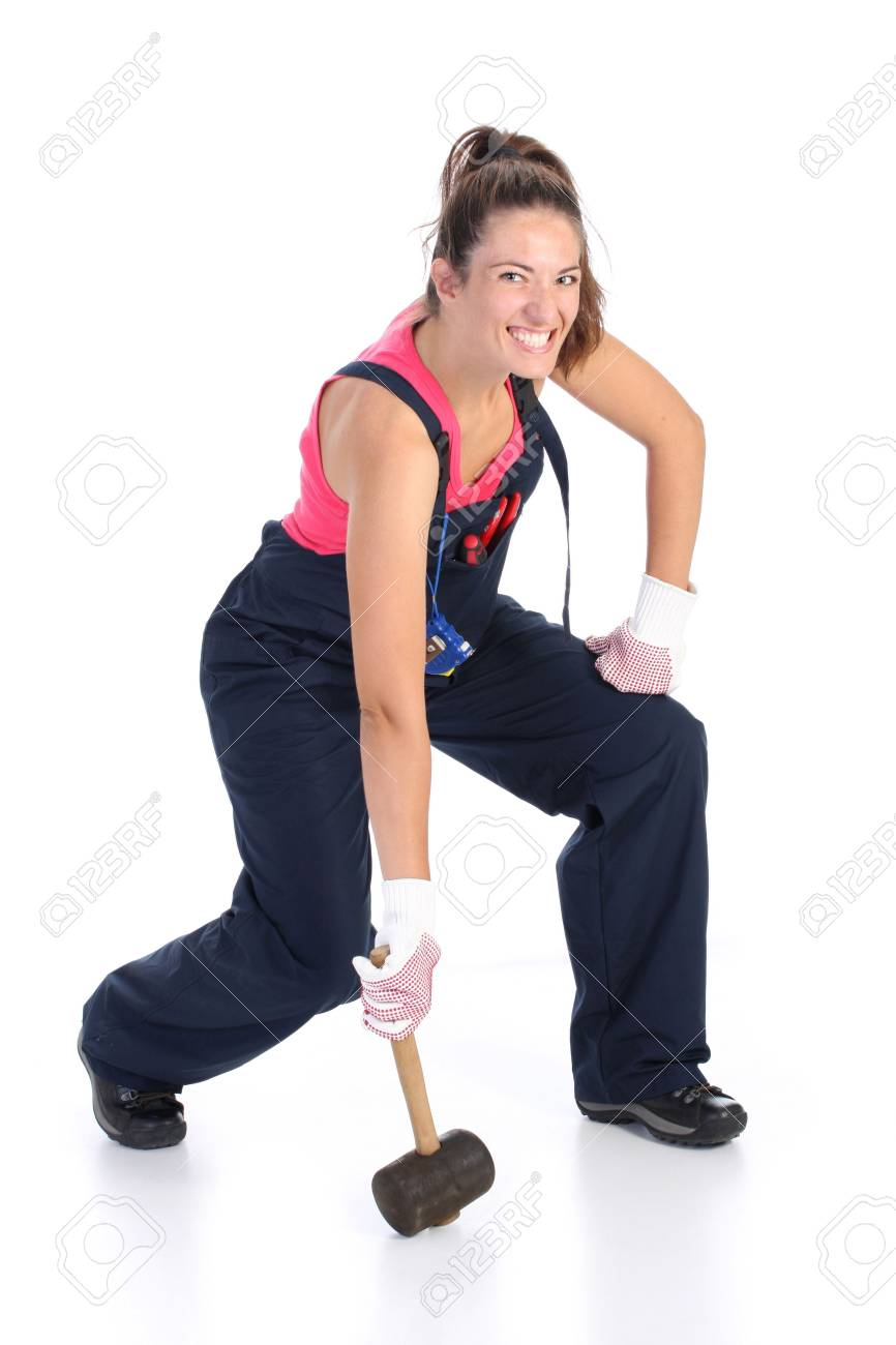 woman with black rubber mallet on white background Stock Photo - 3479959