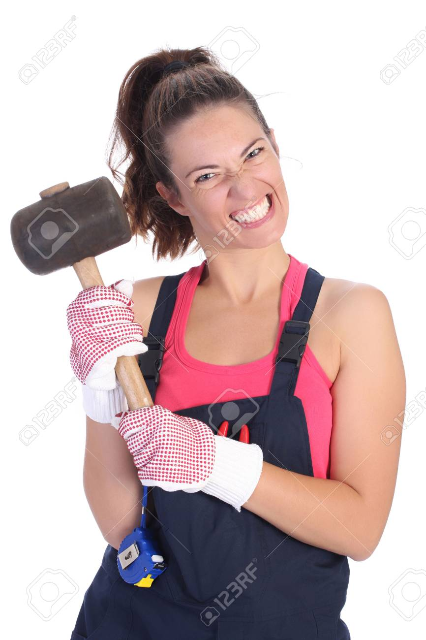 woman with black rubber mallet on white background Stock Photo - 3642269