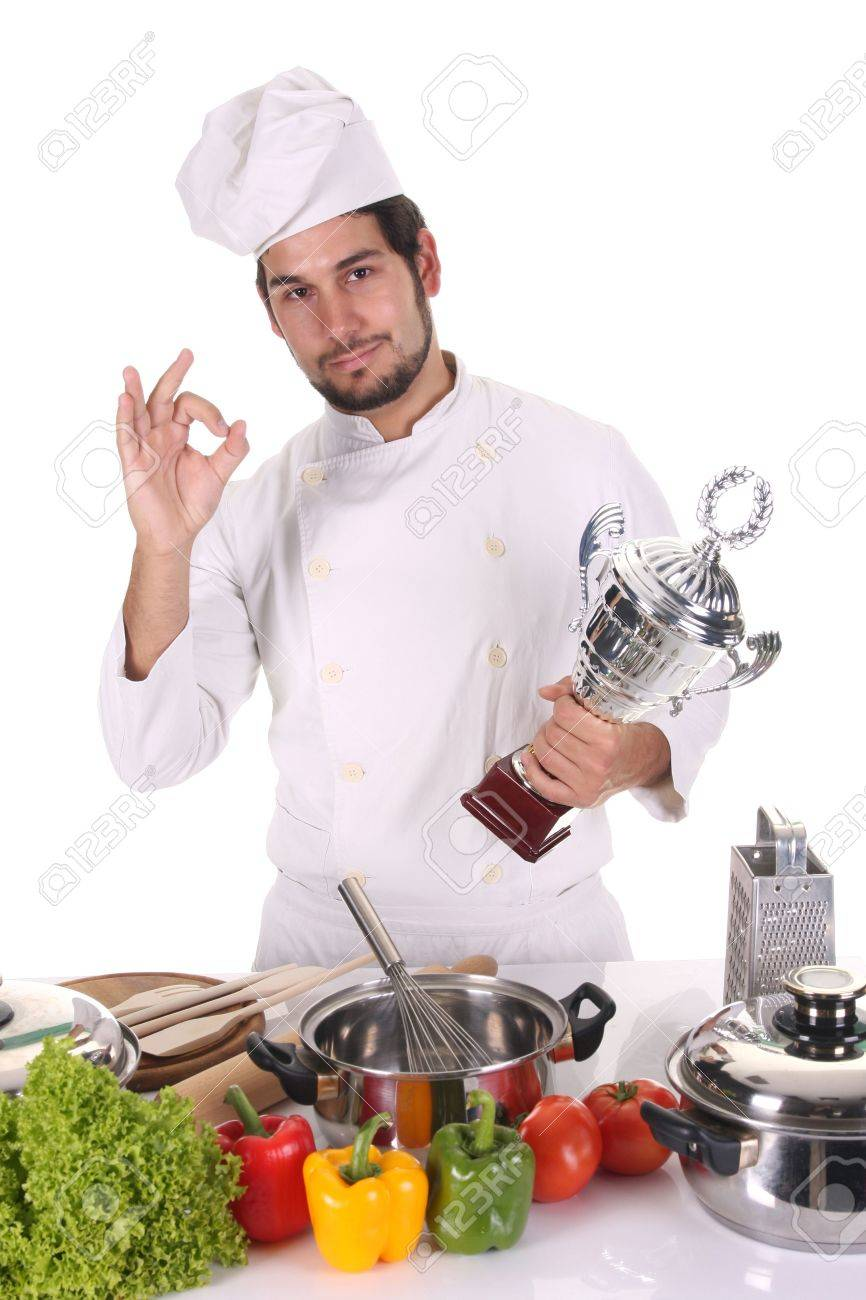 young chef with trophy on white background Stock Photo - 3810141