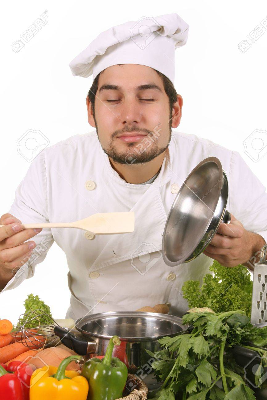 young chef smelling the aroma delicious food Stock Photo - 3854620