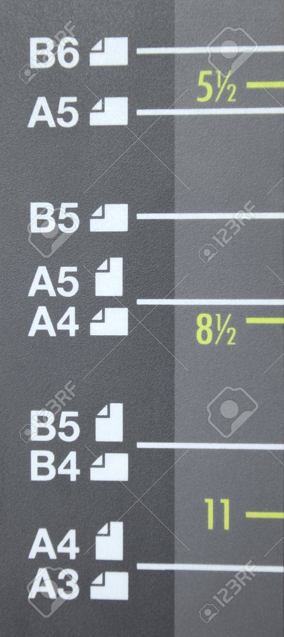 Paper Size A3, A4, A5, B4, B5, B6 On Laser Copier Stock Photo ...