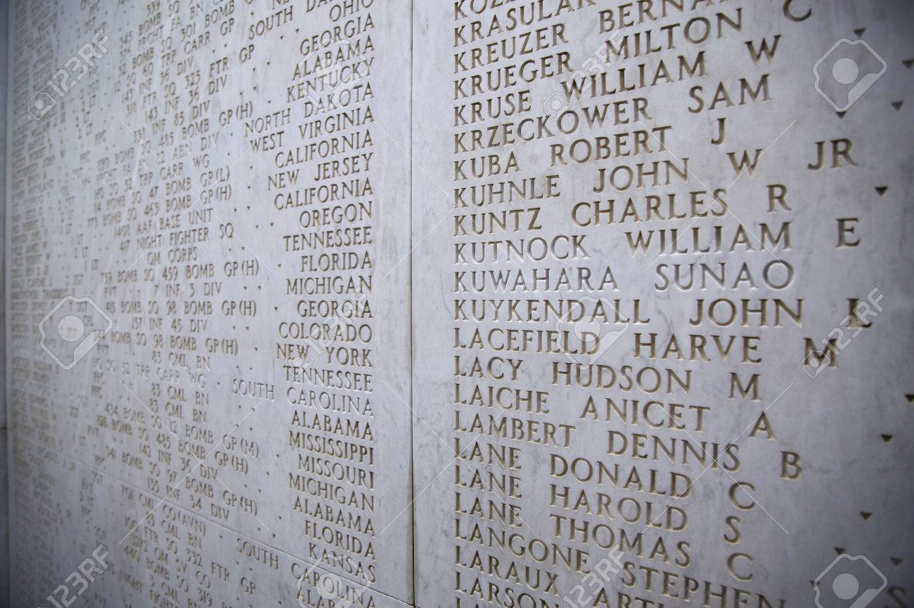NETTUNO - April 06: The Names of fallen soldiers at war, American