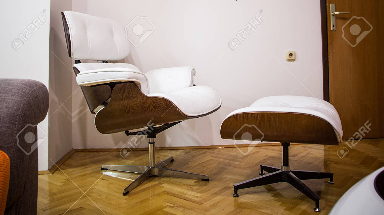 White Minimalistic Set Of Armchair Footrest And Coffee Table Stock Photo Picture And Royalty Free Image Image 95319403
