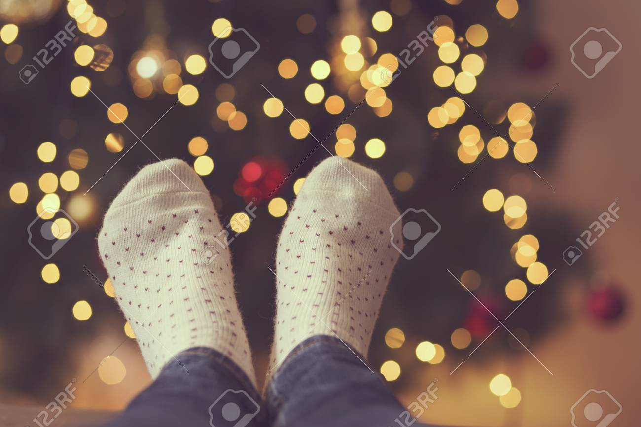 ece4a424697 Detail Of Woman s Feet Wearing Warm Winter Socks