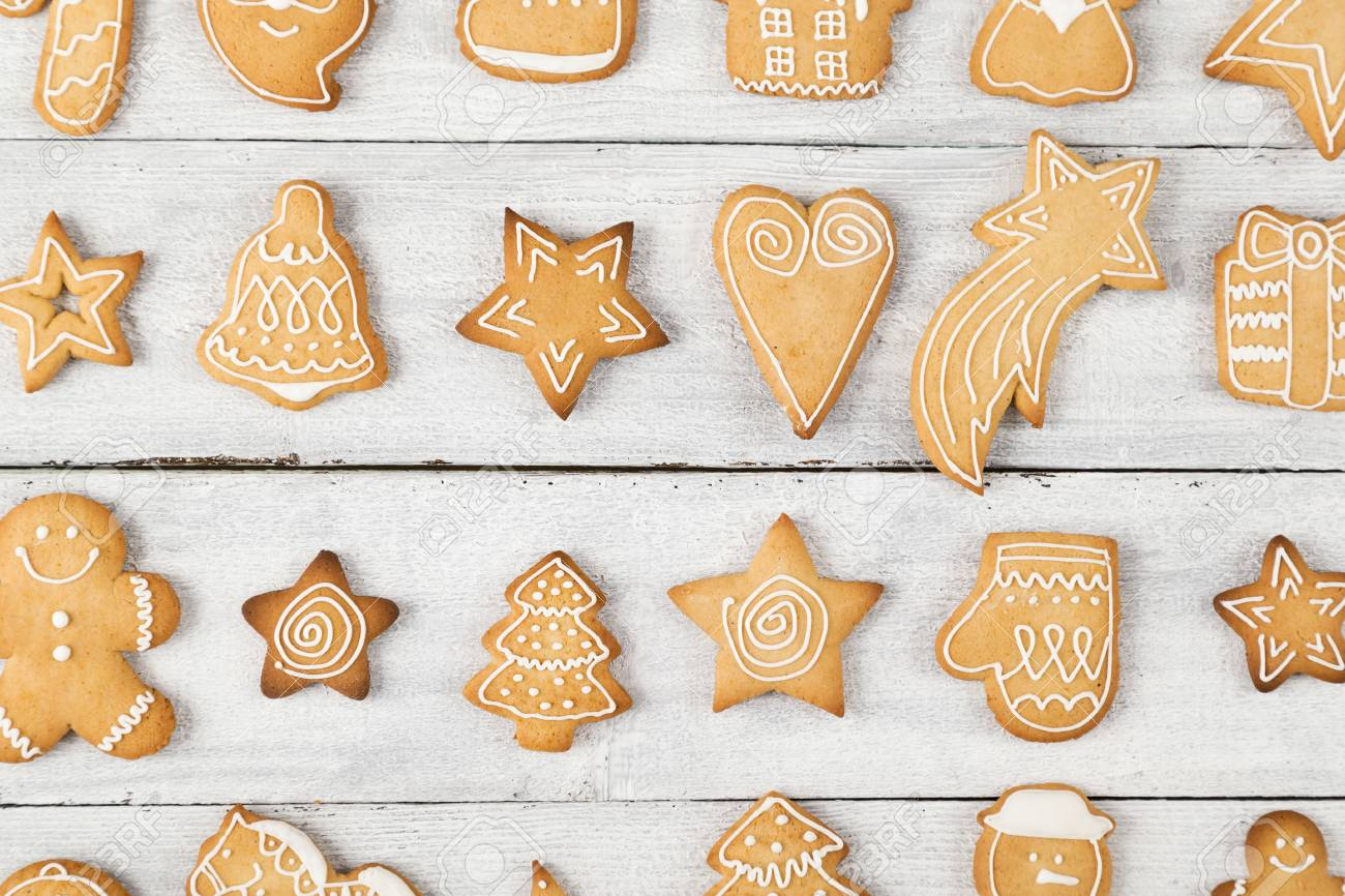 Decorated Christmas Cookies.Top View Of Different Shapes Of Nicely Decorated Christmas Cookies