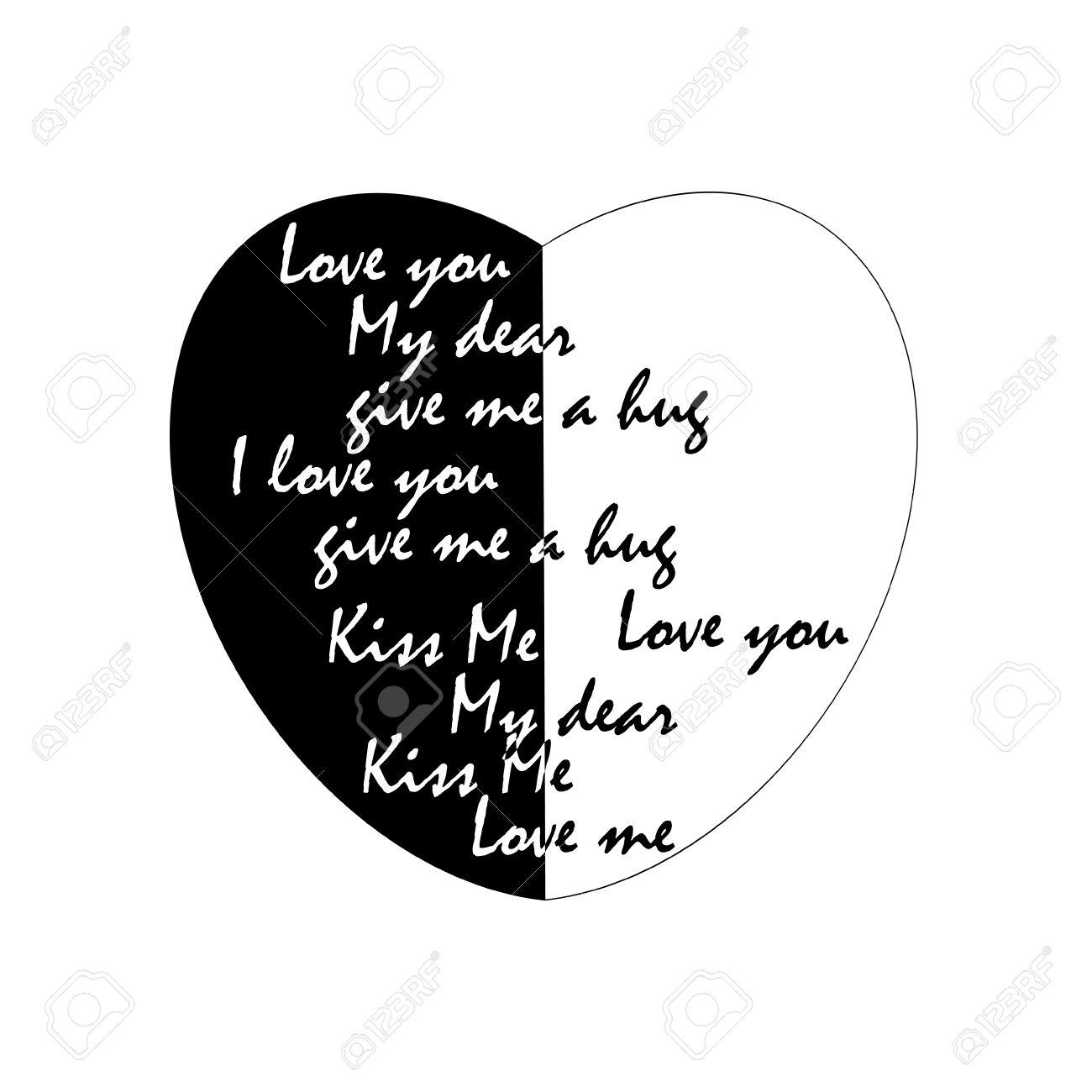 Letras De Amor Sobre Un Fondo Blanco Y Negro Tarjetas Invitaciones