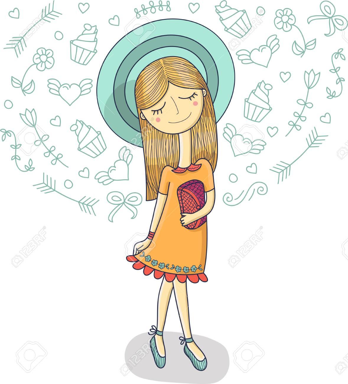 かわいいドレスで美しいファッションの少女バッグ ストライプ帽子の