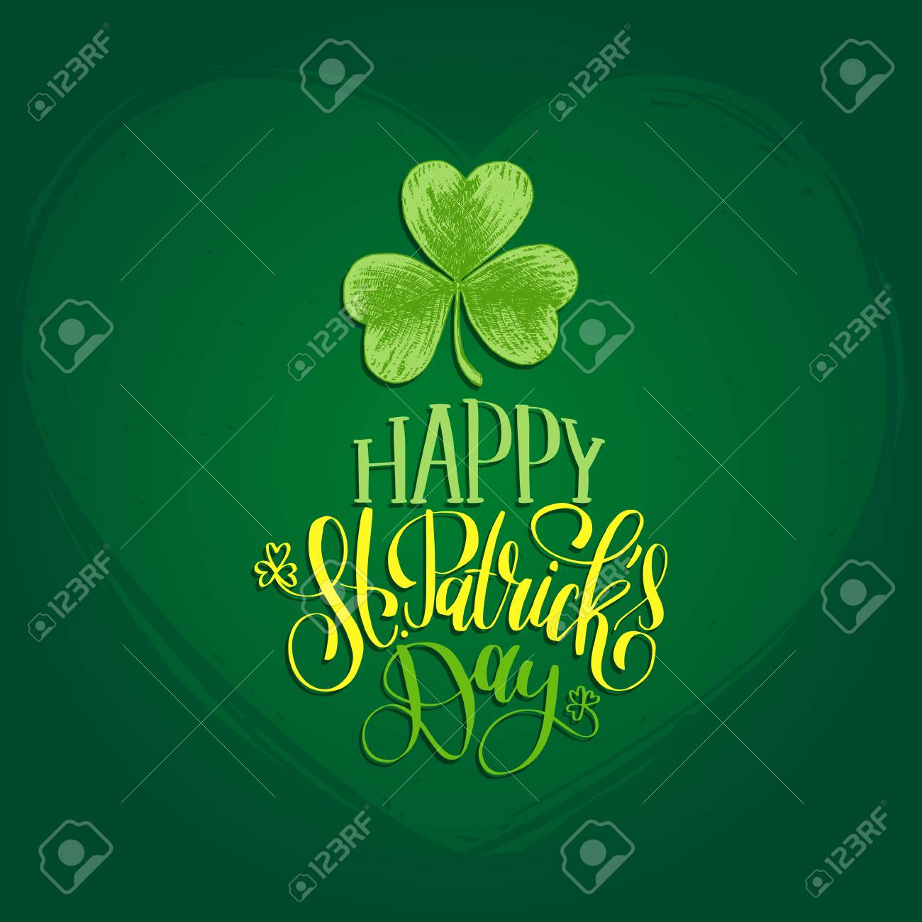 Vector happy saint patricks day hand lettering greetings card vector vector happy saint patricks day hand lettering greetings card or poster design sketched illustration of irish shamrock m4hsunfo