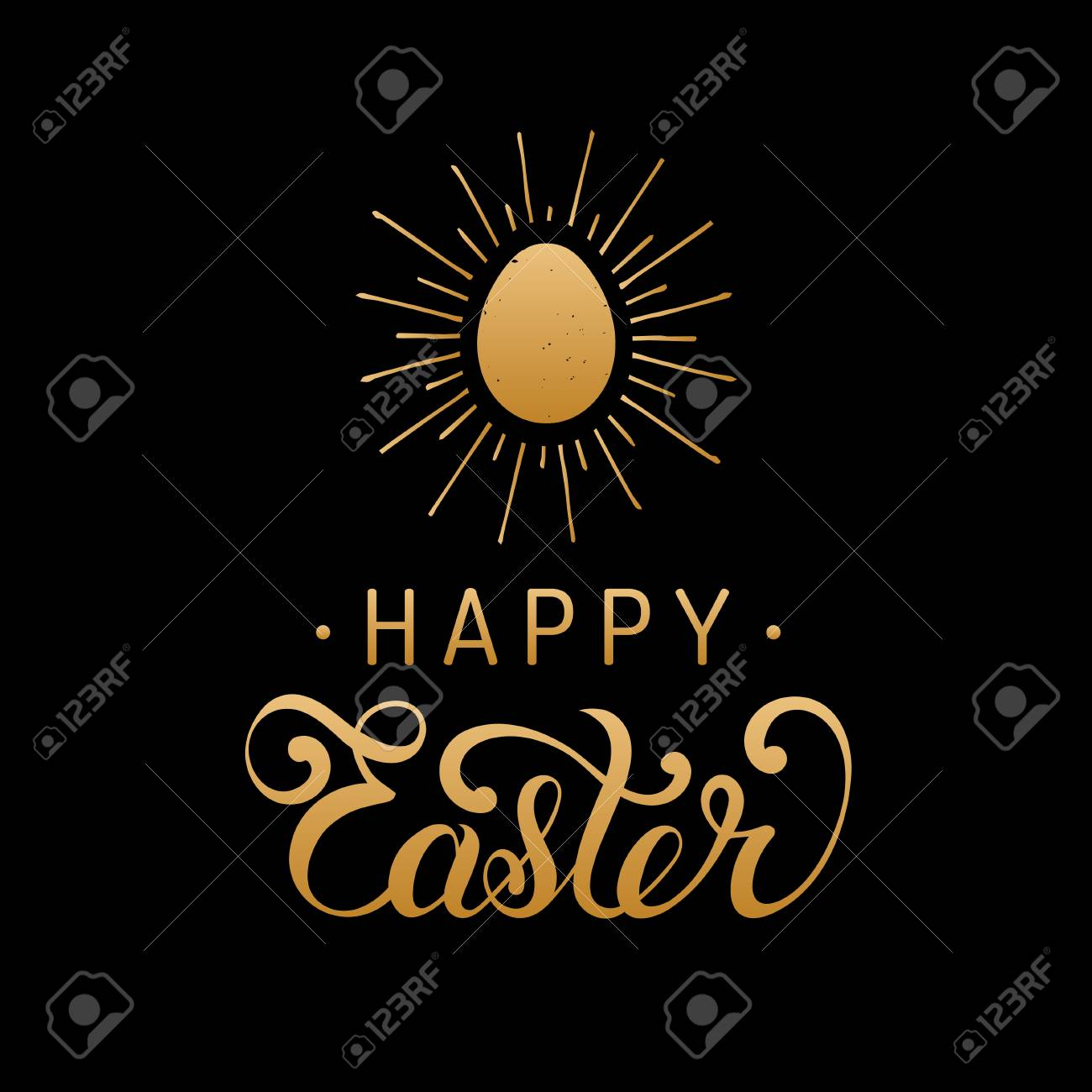 Happy Easter Type Greeting Card With Egg Religious Vector