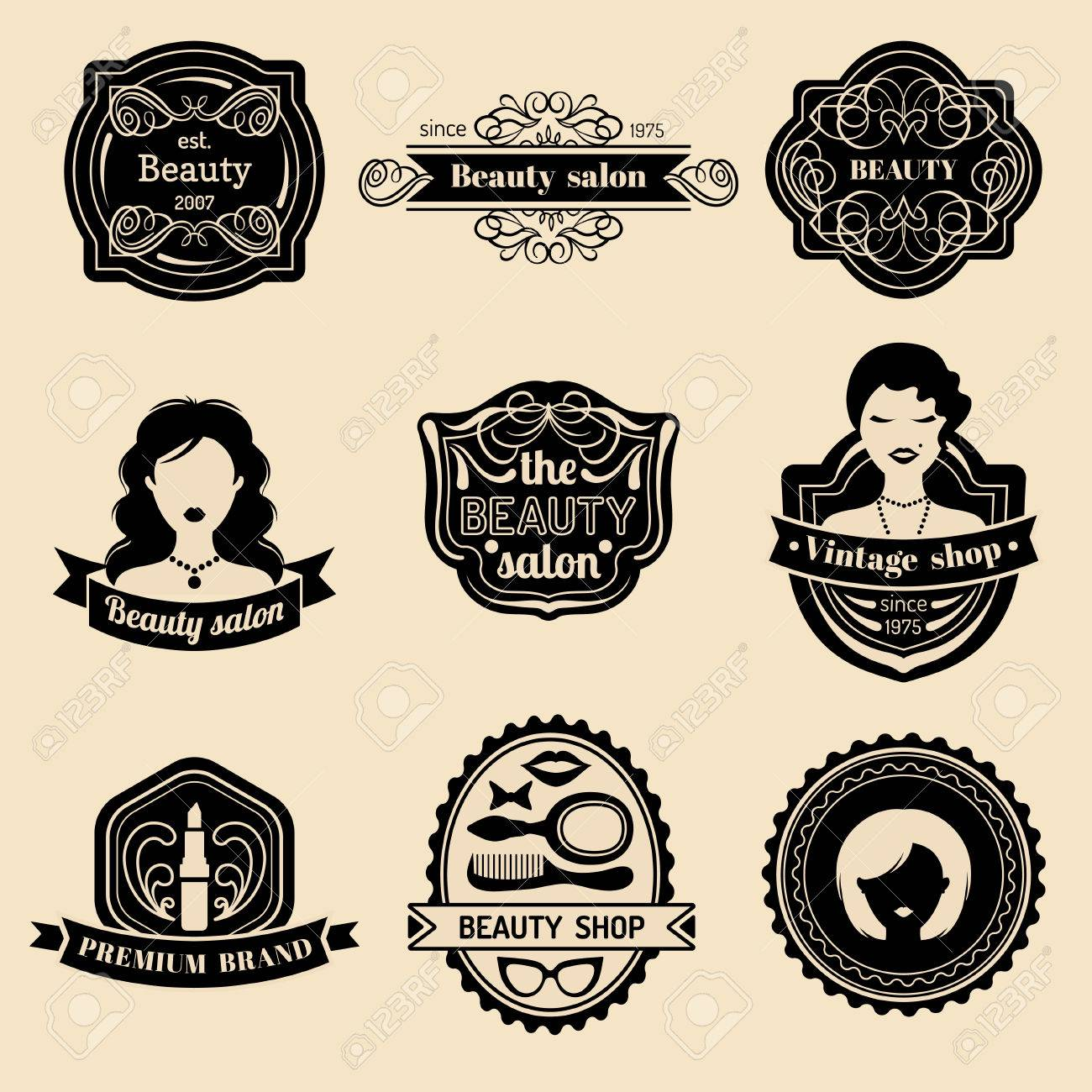Vector Set Of Hipster Woman Logo Beauty Salon Or Vintage Shop