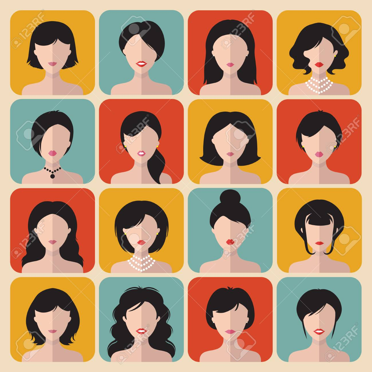Big Vector Set Of Different Haircuts Women App Icons In Flat