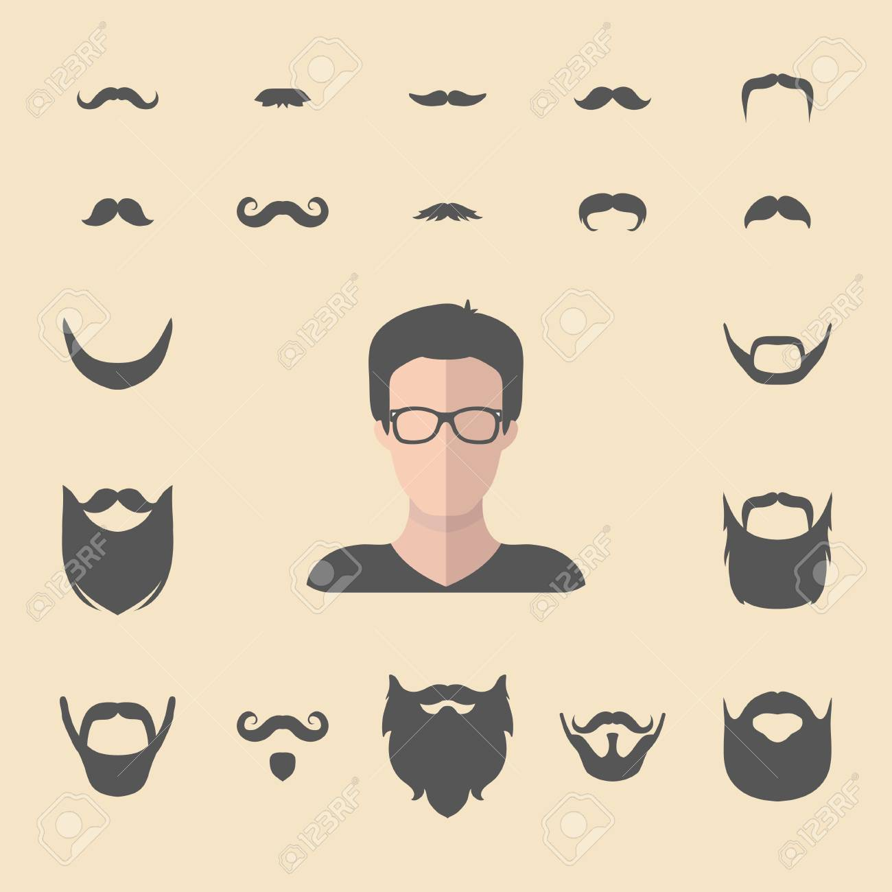 aa538f9bac9 Big vector set of dress up constructor with different men hipster beard
