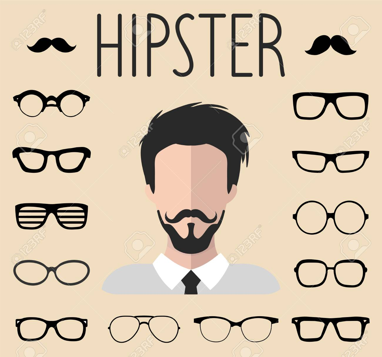 2d1268ae39c Big vector set of dress up constructor with different men hipster glasses