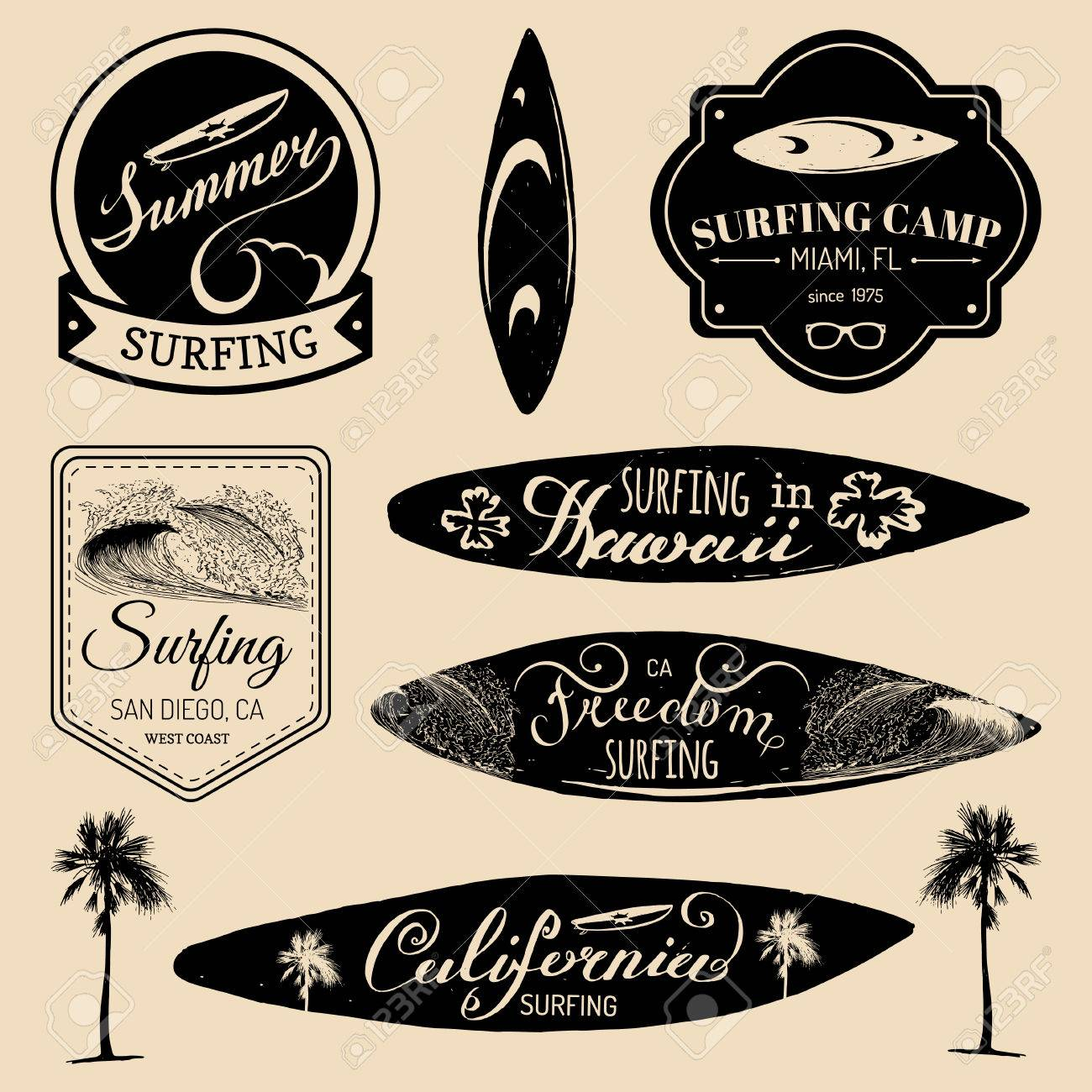 Vector Set Of Vintage Surfing Logossigns For Textilet Shirts Print Etc