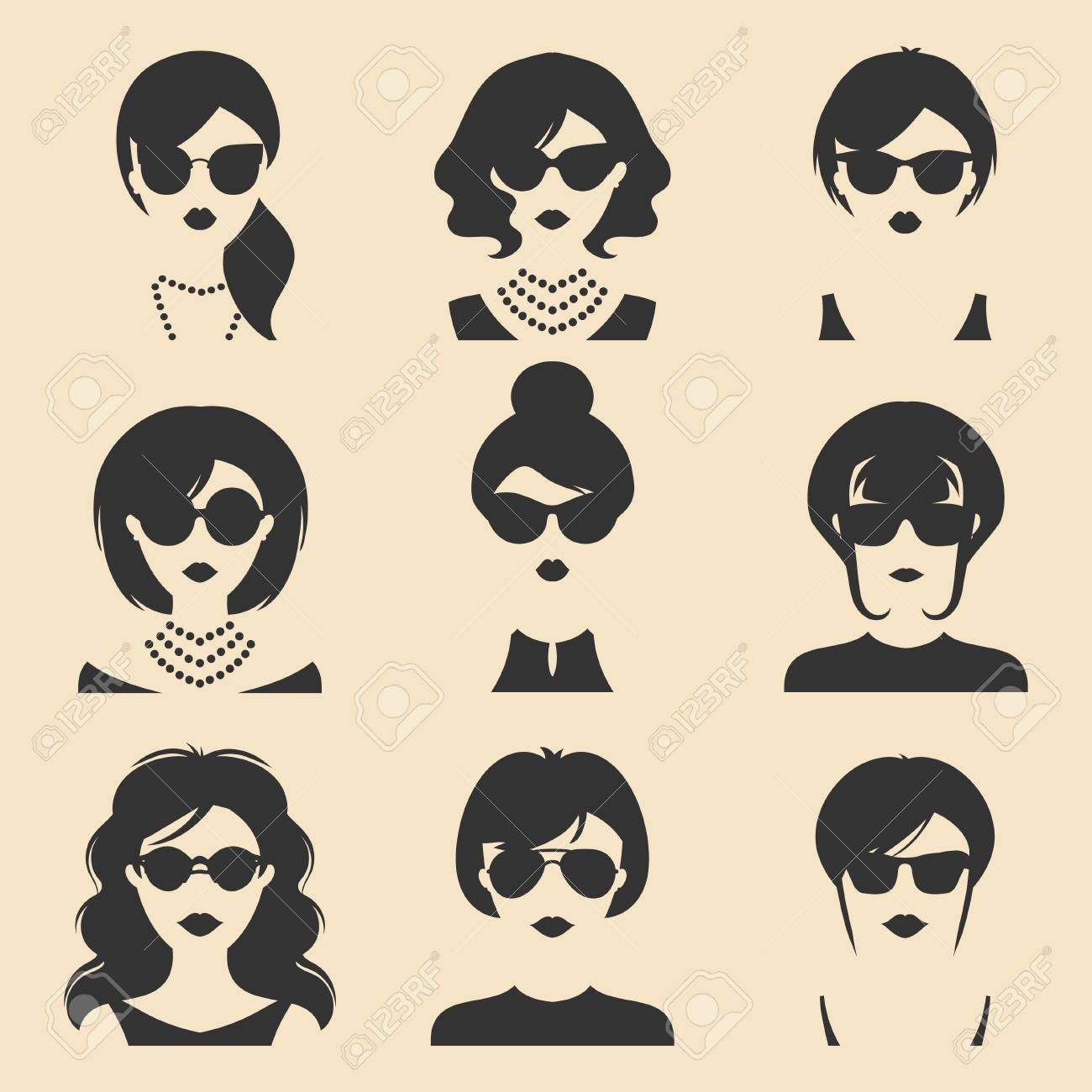 Big Vector Set Of Different Women App Icons In Sunglasses In