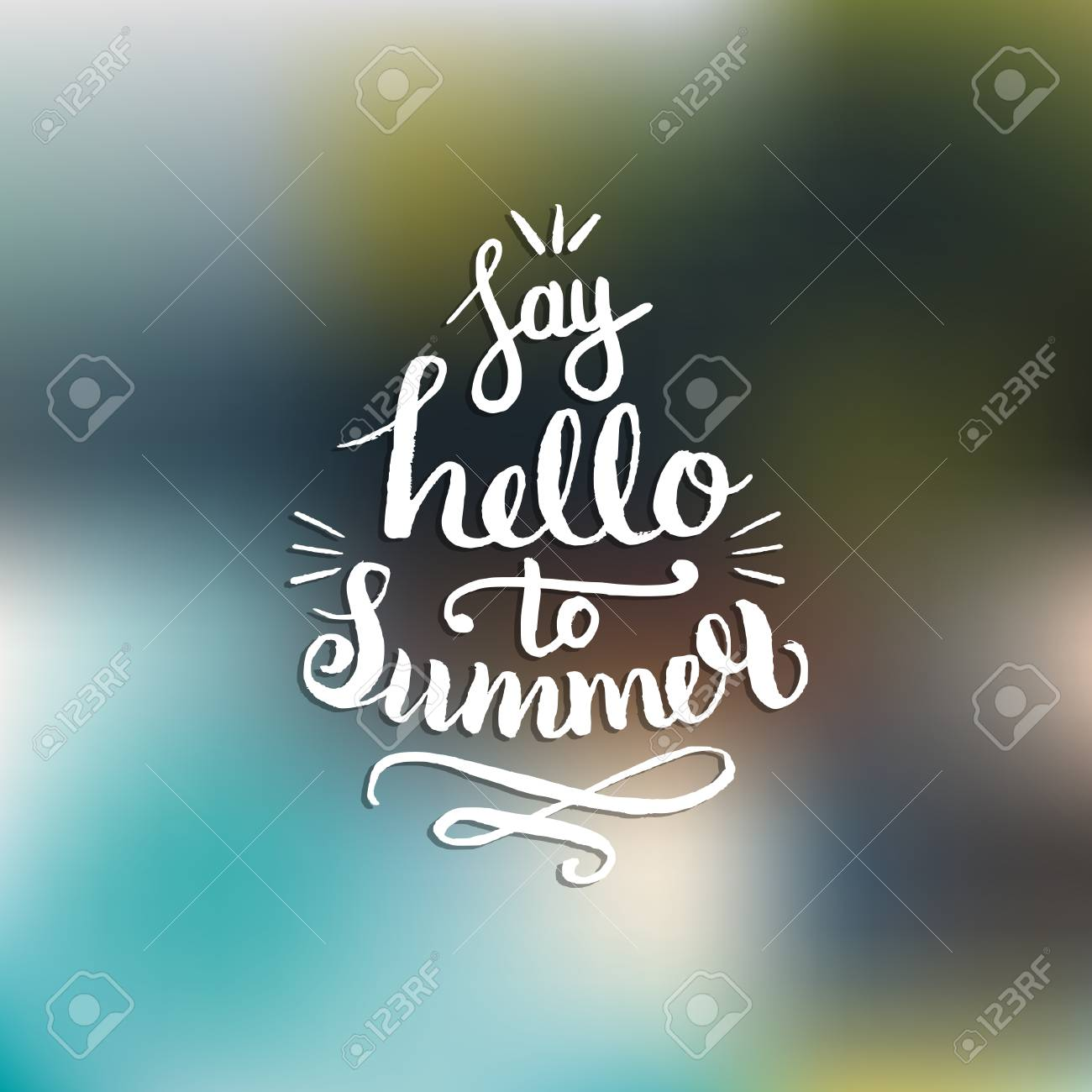 c601b777 Say Hello To Summer vector illustration, background. Fun quote hipster  design logo. Hand