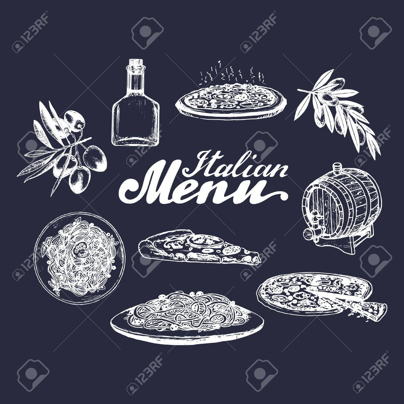 Hand Skizzierte Italienische Menü. Küche Zeichen. Vector Reihe Von ...