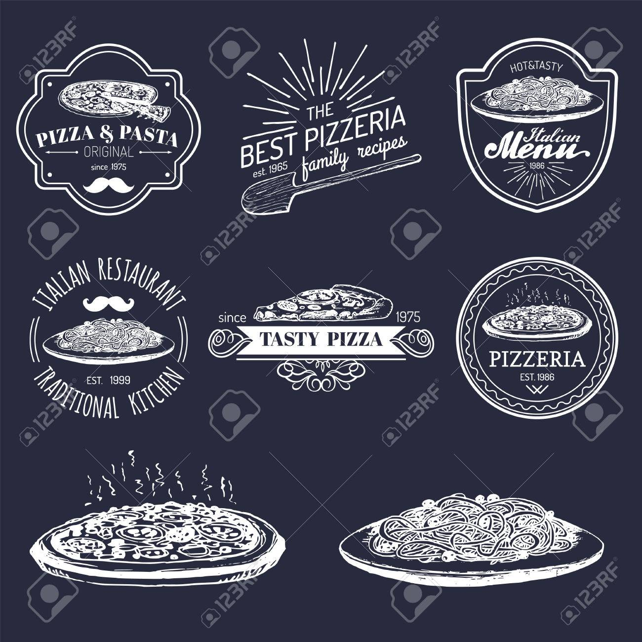Vector Vintage Hipster Italian Food Logos Modern Pasta And Pizza