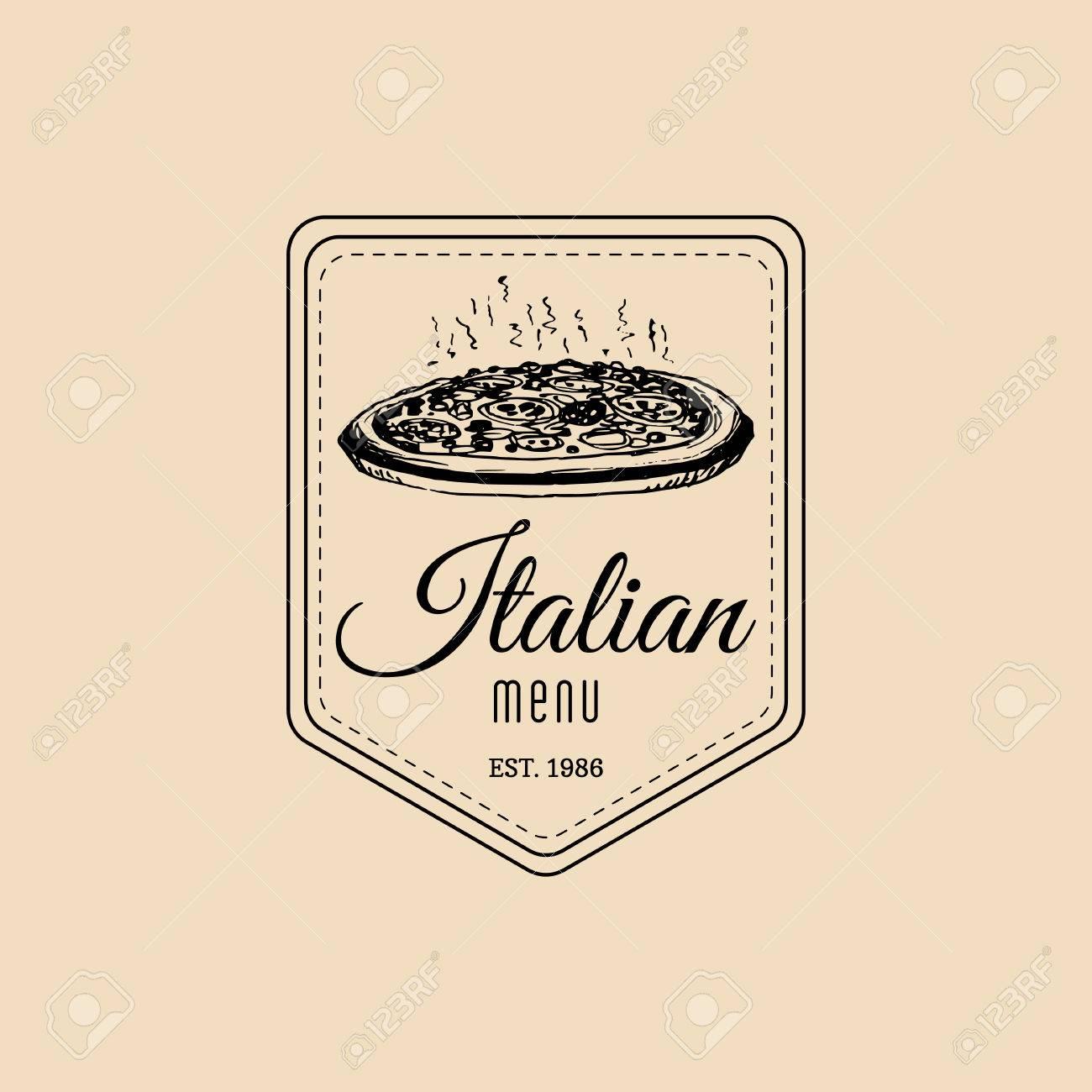 Vector Vintage Hipster Italienisches Essen Logo. Moderne Pizza ...