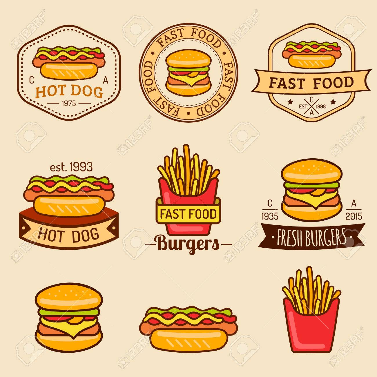 Vector Vintage Fast Food Logos Set Retro Eating Signs Collection Royalty Free Cliparts Vectors And Stock Illustration Image 75330293