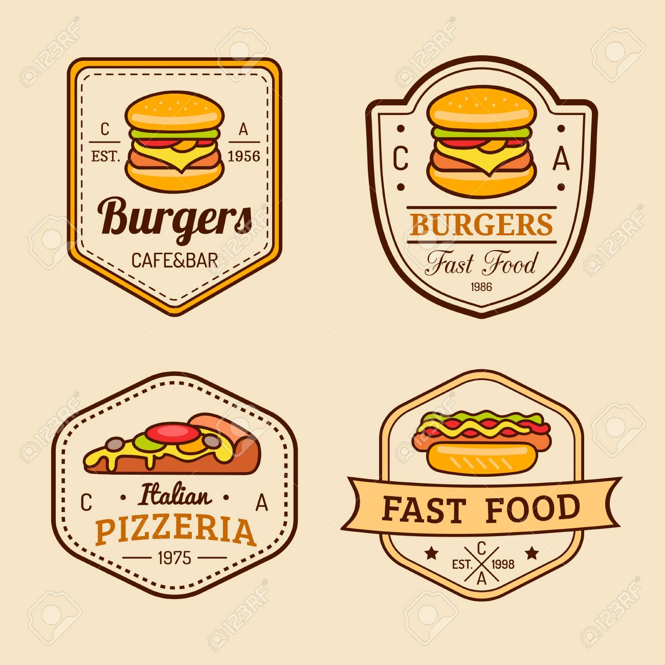 Vector Vintage Fast Food Logos Set. Retro Eating Signs Collection. Bistro,  Snack Bar