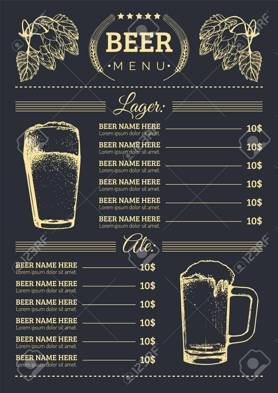 Beer Menu Design Template.Vector Pub, Restaurant Card With Hand ...
