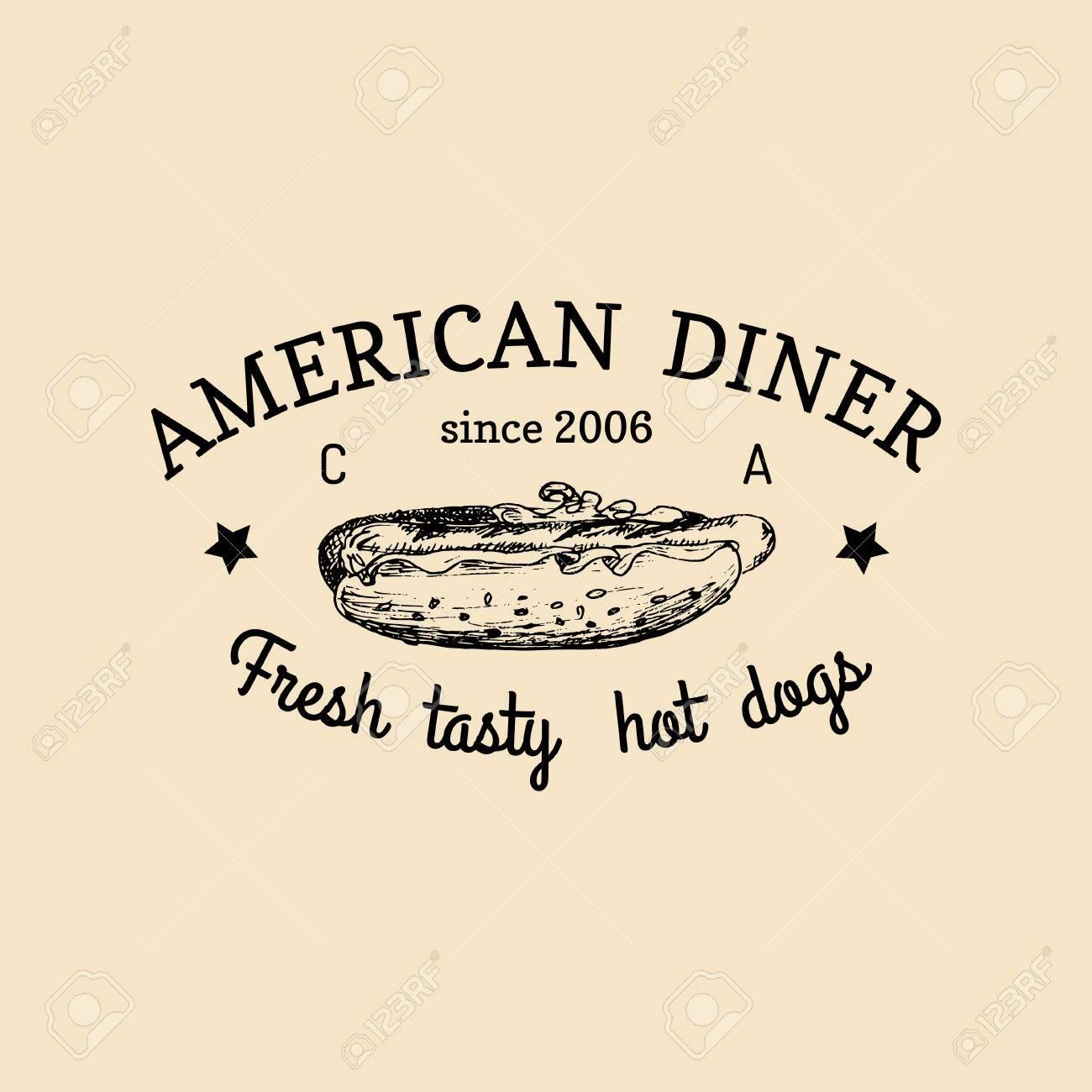 Vector Vintage Fast-Food-Logo. Retro Handgezeichnetes Hot Dog Label ...