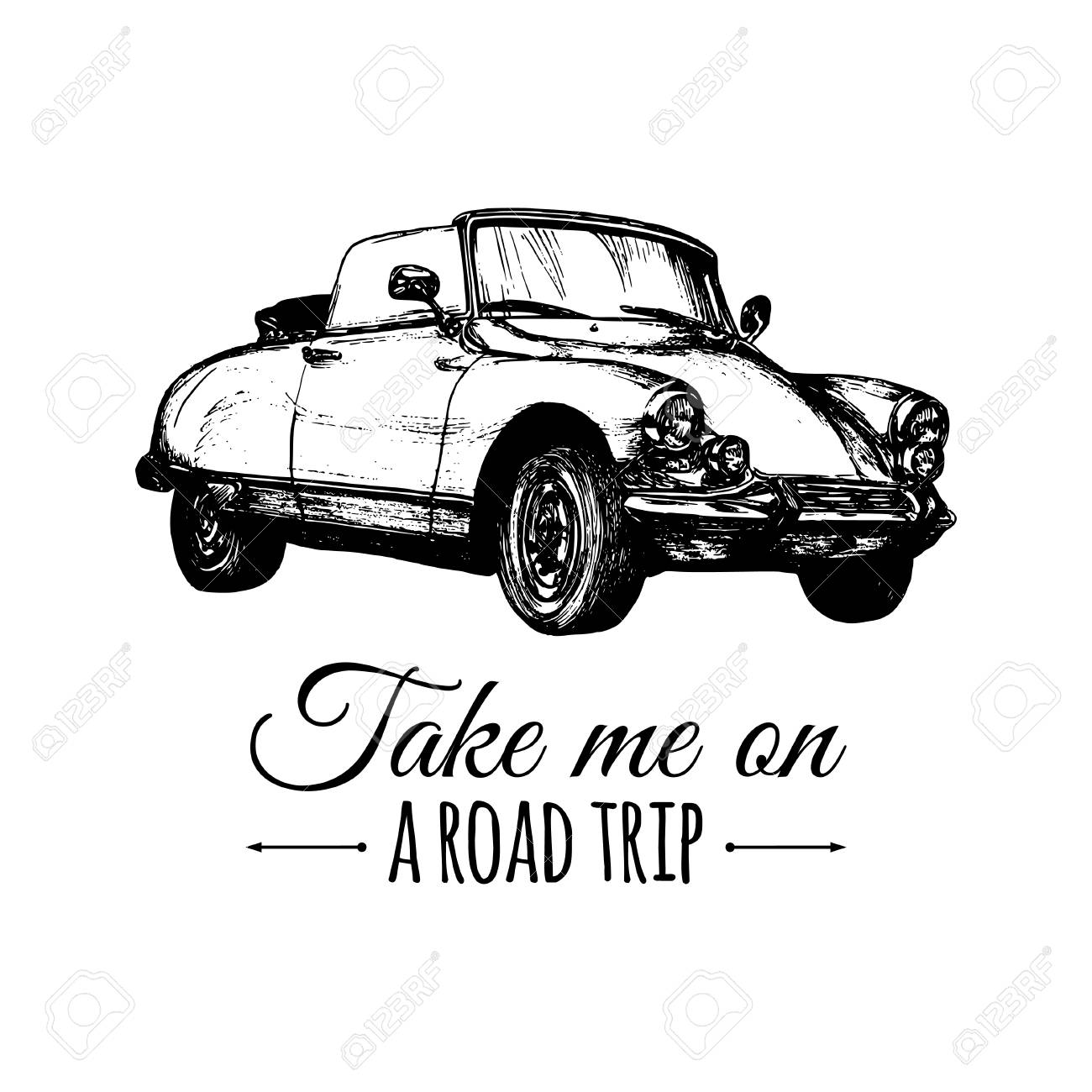 道路旅行ベクトルは活版印刷のポスターは私手はレトロな自動車