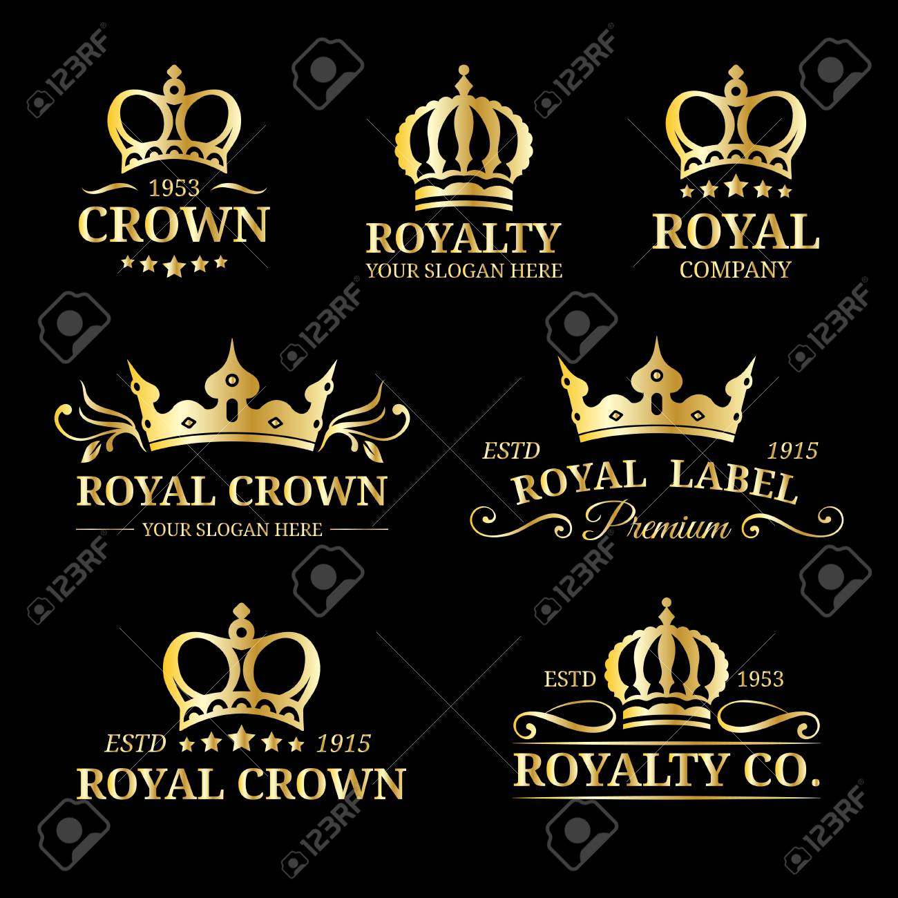 Vector Crown Logos Set. Luxury Corona Monograms Design. Diadem ...