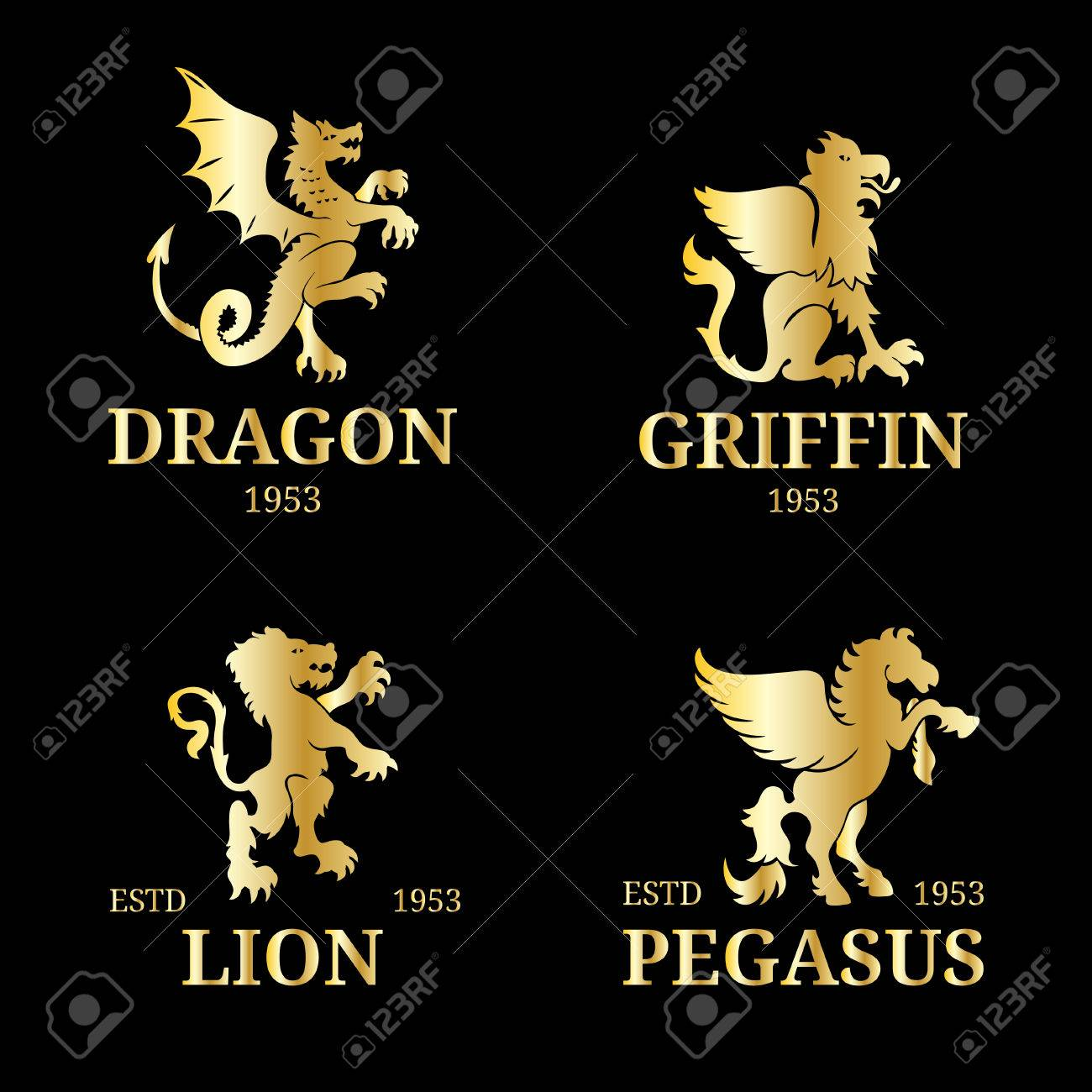Luxury Pegasus Lion Etc Design Graceful Animals Silhouettes Illustration Used For Hotel Restaurant Boutique Jewellery Business Card